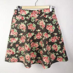 Matilda Jane Cheryl Skater Skirt Brown Floral